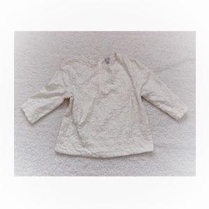 J crew ivory lace 3/4 Sleeve Blouse Sz Medium